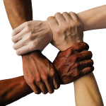 Image showing hands of various colour and race linking together